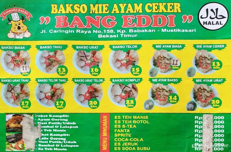 Selalu Diperbarui Menu Bakso Mie Ayam Ceker Bang Eddi Mustika Jaya Bekasi