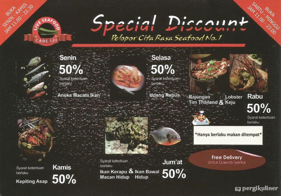 50 Weekdays Discount Promo Dan Diskon Di Live Seafood Cabe Ijo Pluit