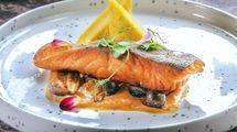Creamy Miso Salmon, menu rekomendasi di Nara