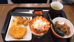 Foto 3 - Makanan(Beef Sukiyaki Rice (kids) + Chicken Katsu + Skewered Tofu Roll + Cold Ocha + Fruit Parfat) di Marugame Udon oleh Annti Nursanti