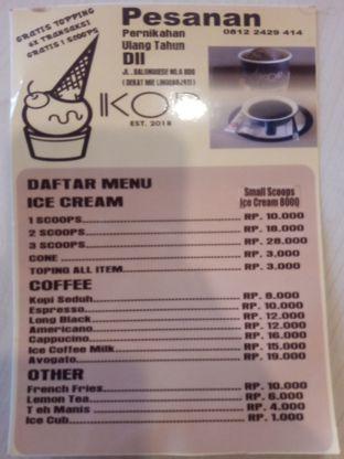 Foto 1 - Menu di Kop Ice Cream oleh Chris Chan