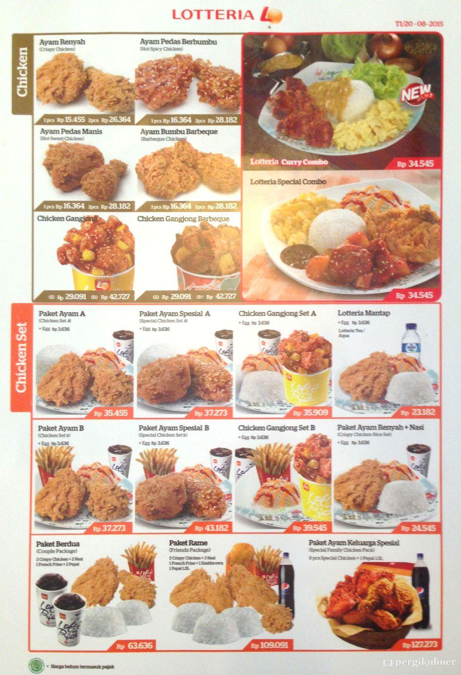 Selalu Diperbarui Menu Lotteria Cinere Depok Chicken Burger Set 1