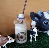 Foto Iced Coffee Latte - bottle size & pajangan sapi di rerumputan  di Harvest Moo