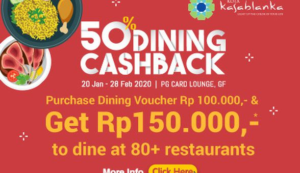 Rayakan Imlek, Kota Kasablanka Manjakan Pengunjung dengan  Program 50% Dining Cashback