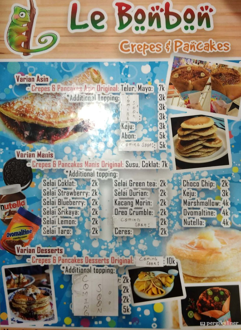 Menu Le Bonbon Crepes Pancake Ciumbuleuit Bandung Morin Selai Strawberry