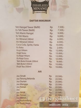 Foto 5 - Menu di RM Indah Jaya Minang oleh William Wilz